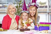Happy Mother and proud grandmother at thebirthday party of their daughter