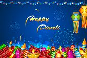 stock photo of diwali lamp  - illustration of Diwali background with colorful firecracker - JPG