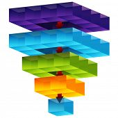 An image of a 3d cube funnel.