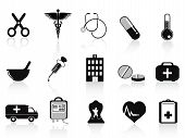 Black Medical Icons Set