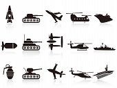 stock photo of fighter plane  - isolated black war weapon icons set on white background - JPG
