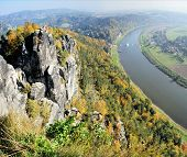 image of upstream  - View from the Bastei in the Saxon Switzerland in Germany on the Elbe - JPG