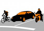 Vector illustration of traffic on the road. Property release is attached to the file