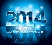 foto of countdown  - Vector Happy New Year 2014 blue colorful background eps 10 - JPG