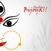 stock photo of dussehra  - easy to edit vector illustration of Subho Bijoya wishing for Happy Dussehra - JPG