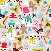Seamless snow man ginger bread man and reindeer christmas friends illustration background pattern in vector