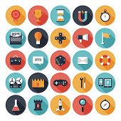 Game Design platte Icons Set
