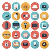 stock photo of computer  - Modern flat icons vector collection with long shadow effect in stylish colors of web design objects business office and marketing items - JPG