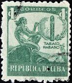 Cuba - Circa 1946: A Stamp Printed In Cuba Dedicated To Havana Snuff, Circa 1946