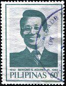 A stamp printed in Philippines shows Benigno Aquino husband of Corazon Aquino