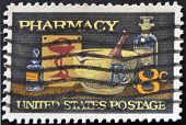 United States Of America - 1972: A Stamp Printed In Usa Shows Image Of Typical Items In A Pharmacy