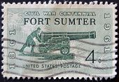 A stamp printed in the USA shows Civil War Centennial Fort Sumter