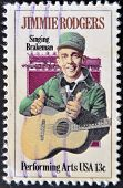 Usa - Circa 1997 : Stamp Printed In Usa Shows Jimmie Rodgers, American Country Singer, Circa 1997