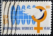 A Stamp Printed In The Usa Shows International Womens Year Circa 1975