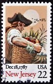United States Of America - Circa 1987: A Stamp Printed In Usa Dedicated To New Jersey, Circa 1987