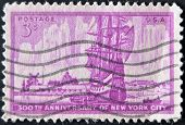 Usa - Circa 1953 : A Stamp Printed In The Usa Shows 300Th Anniversary Of New York City, Circa 1953