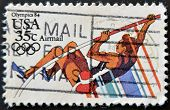 Usa - Circa 1984: A Stamp Printed In Usa From The Los Angeles Olympics 1984 Issue Showing Pole Vault