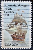 Usa - Circa 1984 : A Stamp Printed In The Usa Shows Roanoke Voyages North Carolina 1584, Circa 1984