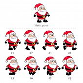 Santa Claus walking frames. Animation for mobile game, vector isolated objects.