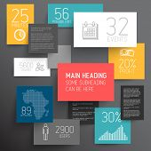 Vector abstract squares illustration / infographic template with place for your content on dark back