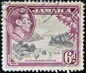 Jamaica - Circa 1964: A Stamp Printed In Jamaica Shows Image Of Prietsman�s River, Portland