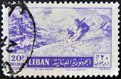 Lebanon - Circa 1960: A Stamp Printed In Lebanon Shows Ski Aux Cedres, Circa 1960