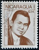 A postage stamp printed in Nicaragua shows the hero of the revolution Oscar Turcios Chavarrias