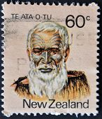 New Zealand - Circa 1988: A Stamp Printed In New Zealand Shows Image Of Te Ata O Tu The Maori Leader