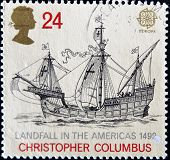 A Stamp Dedicated To The 500Th Anniversary Of The discovery of America shows the flag-ship Columbus