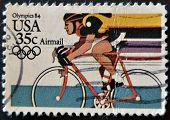 A stamp printed in USA from the Los Angeles Olympics 1984 issue showing Bicycling