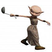 stock photo of goblin  - Goblin servant girl carrying a soup ladle - JPG