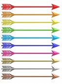 Set Of Colorful Metallic Arrows Isolated On White