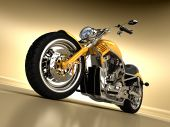 stock photo of chopper  - A beautiful studio shot of a yellow Davidson - JPG