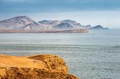 image of ica  - Peruvian Coastline Rock formations at the coast Paracas National Reserve Paracas Ica Region Peru - JPG