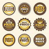 Set of best price labels. Vector illustration.