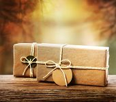 Handcrafted Gift Boxes With An Autumn Background