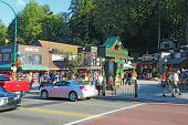 Tourists And Traffic Along The Main Road Through Gatlinburg, Tennessee