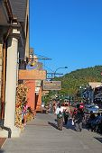 Tourists And Traffic Along The Main Road Through Gatlinburg, Tennessee Vertical