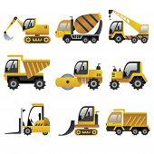 stock photo of dumper  - A vector illustration of big construction vehicles icon sets - JPG