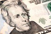 stock photo of twenty dollars  - Closeup of Andrew Jackson - JPG
