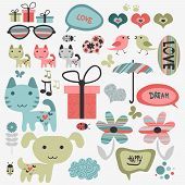 Set of cute scrapbook elements
