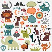Cute animals and various elements set