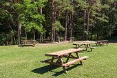 Picnic Area In Forest Park In The Spanish Pyrenees