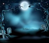 stock photo of headstones  - A spooky scary Halloween background scene with full moon graves and scary trees - JPG