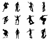 pic of skate board  - Very high quality and highly detailed skating skateboarder silhouette outlines - JPG