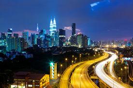 stock photo of klcc  - Kuala Lumpur skyline at night - JPG