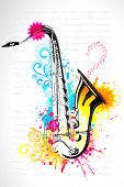 stock photo of sax  - illustration of saxophone on abstract floral background - JPG