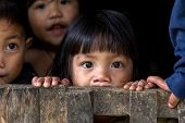 BANAUE, PHILIPPINES, DECEMBER 04 : An unidentified Filipino little girl with her brothers and sister