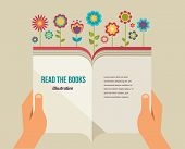 Open book with flowers, flat icons