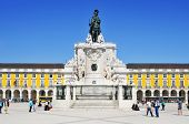 LISBON, PORTUGAL - MARCH 17: View of the Praca do Comercio on March 17, 2014 in Lisbon, Portugal. Th
